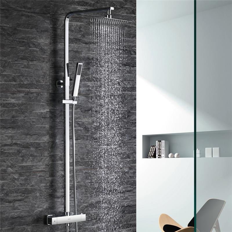 eve duscharmatur mit thermostat regendusche duschgarnitur dusche set bad armatur ebay. Black Bedroom Furniture Sets. Home Design Ideas