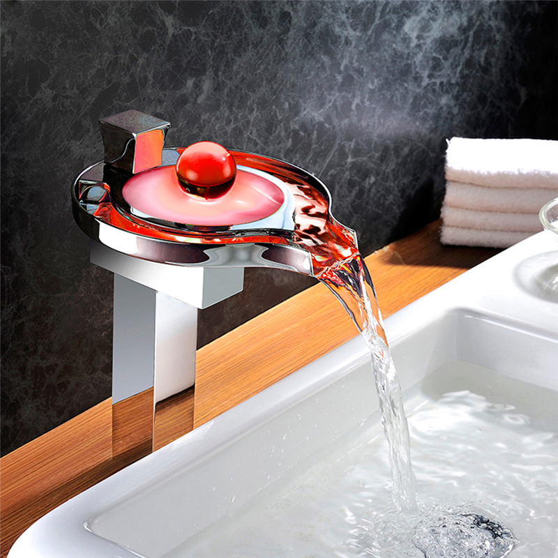 badarmatur led rgb hoch wasserfall wasserhahn. Black Bedroom Furniture Sets. Home Design Ideas