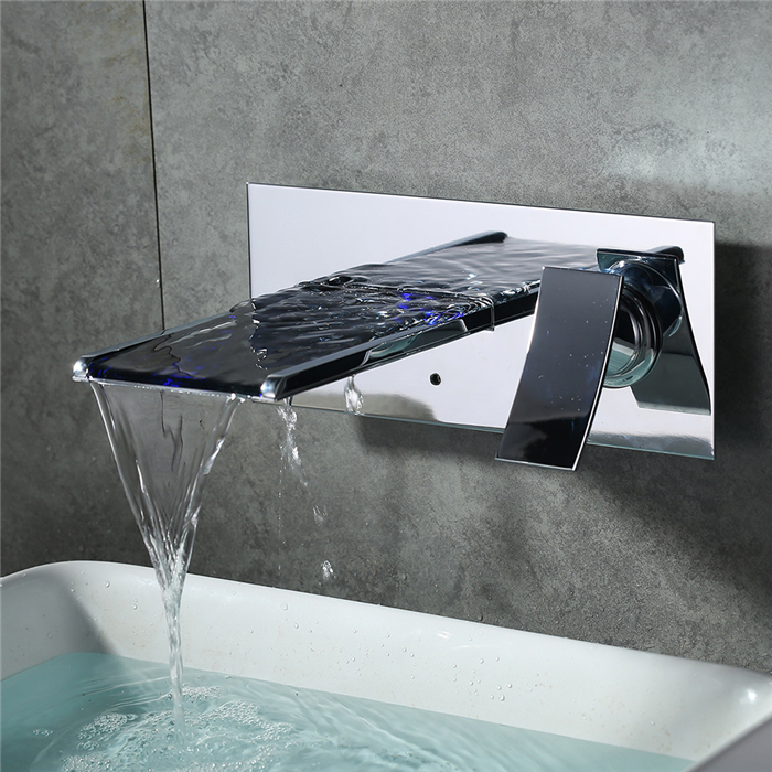 homelody robinet cascade led salle de bains robinet mitigeur mural pour lavabo vasque poser. Black Bedroom Furniture Sets. Home Design Ideas