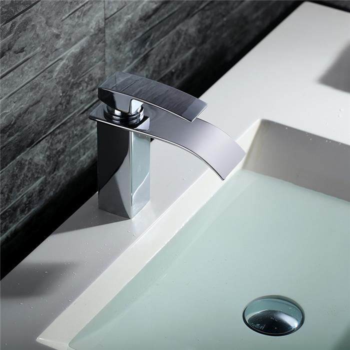 robinet de lavabo mitigeur salle de bain cascade chrom robinetterie pour vasque pr perc. Black Bedroom Furniture Sets. Home Design Ideas