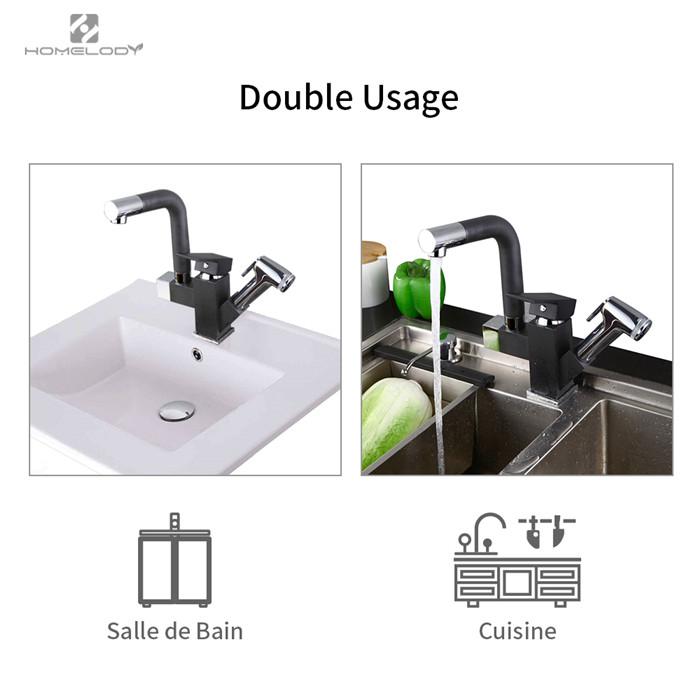 Homelody robinet de cuisine avec douchette extracible mitigeur d 39 vier noir 2 jets rotatif 360 - Robinet cuisine noir ...