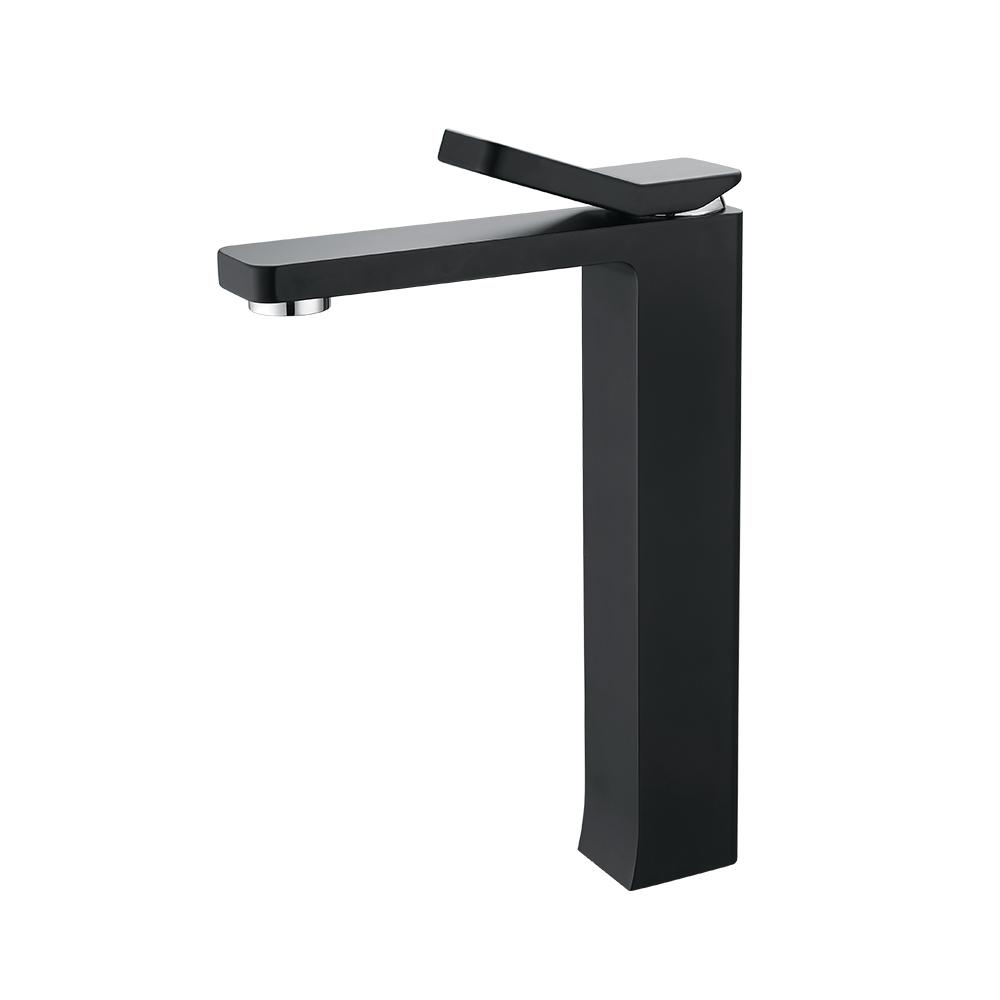 Grand robinet pour vasque noir mitigeur de lavabo salle de for Robinet pour vasque de salle de bain