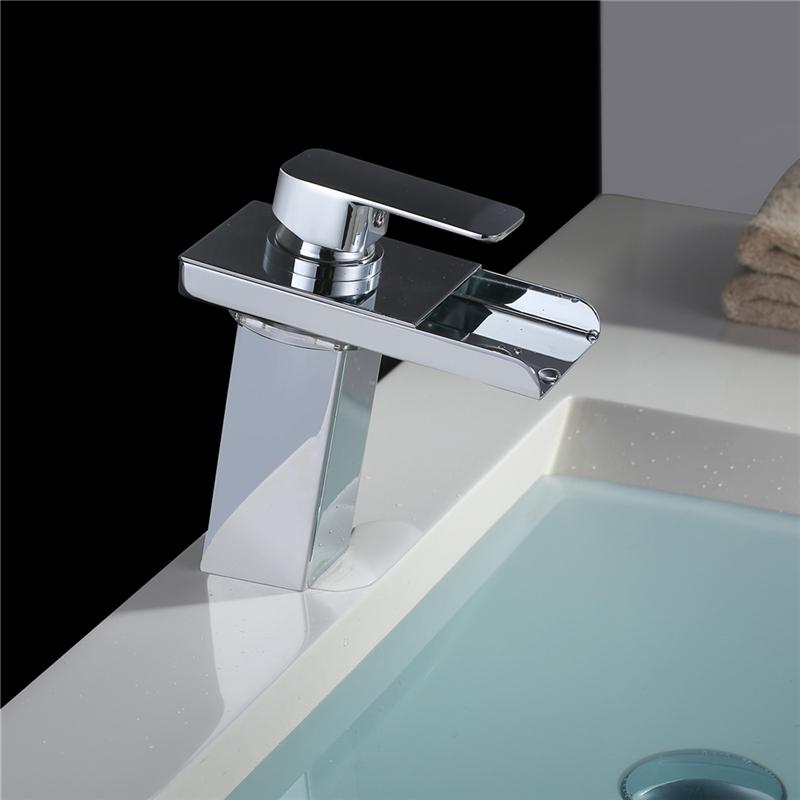 robinet de lavabo cascade led tricolore mitigeur pour salle de bain chrom bec tiroir inclin. Black Bedroom Furniture Sets. Home Design Ideas