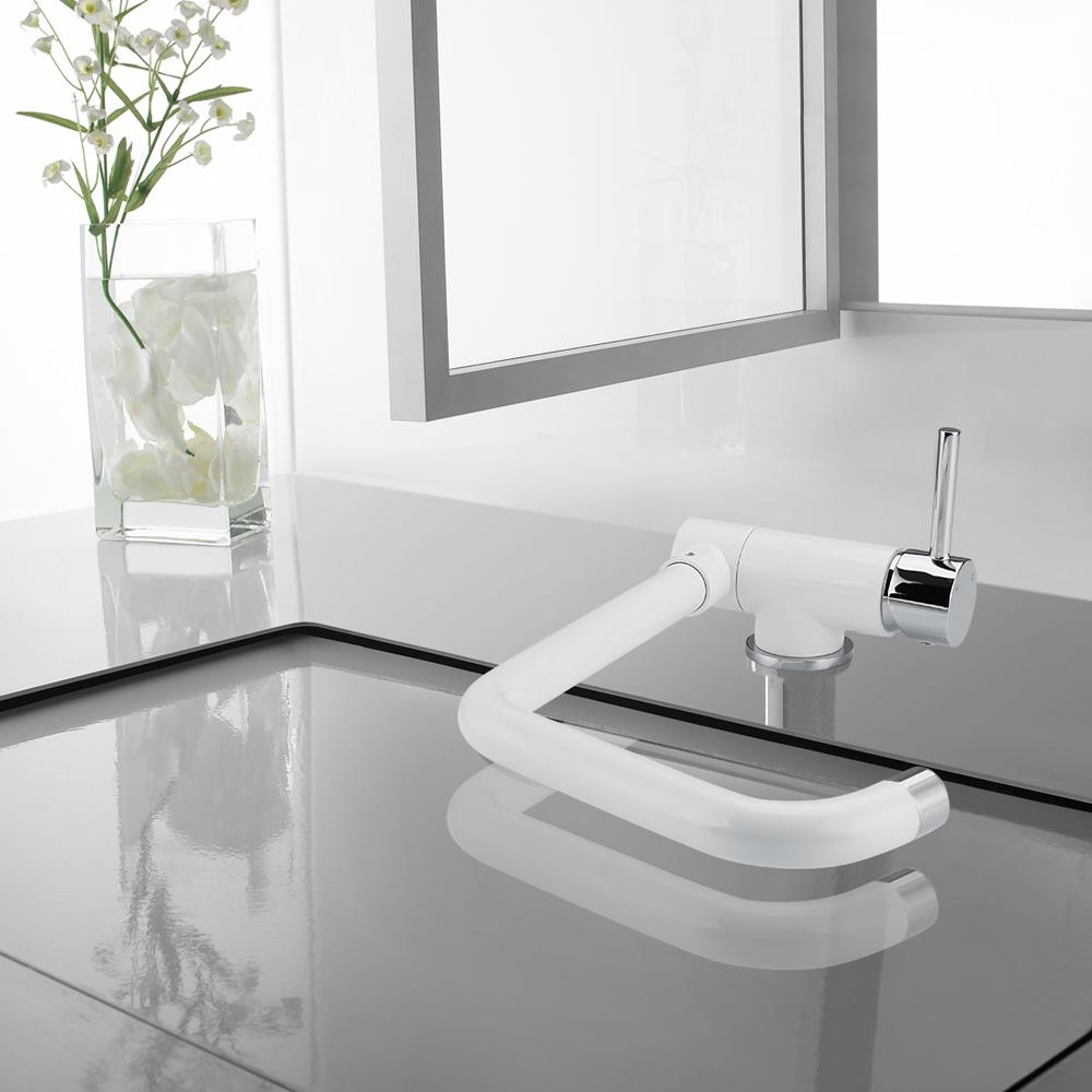 Mitigeur d 39 vier robinet de cuisine blanc chrome pliable for Robinet cuisine blanc